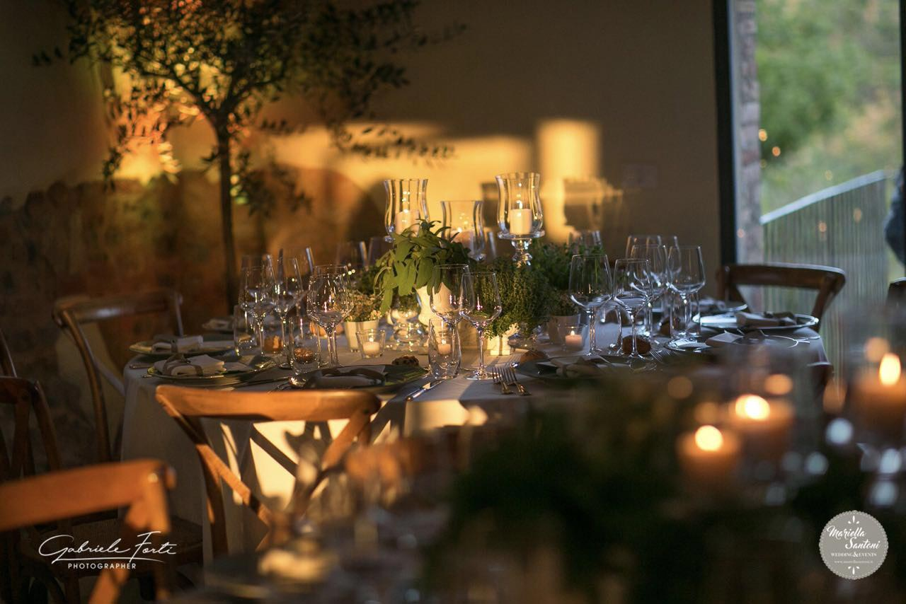 Tuscany table with aromatic herbs for wedding
